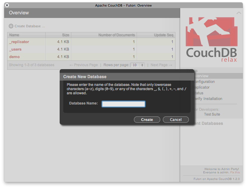 creating a database 1 7  futon  web gui administration panel  u2014 apache couchdb 1 6      rh   docs couchdb org